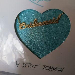 Bridesmaid necklace gold tone cubic zirconias